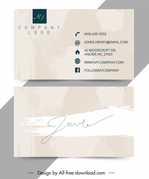 name card template bright grunge signature decor