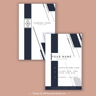 name card template classical flat black white decor