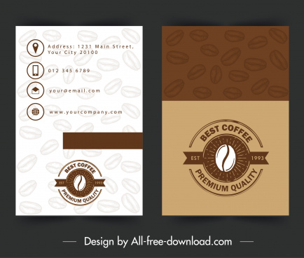name card template coffee theme brown decor