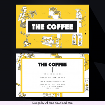 name card template coffee theme colored classical design