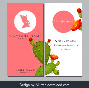 name card template colored blooming cactus decor
