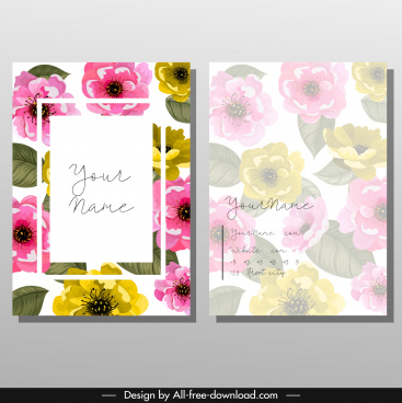 name card template colorful floral classical blurred design