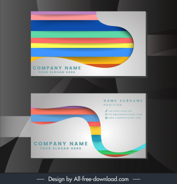name card template colorful horizontal stripes paper cut