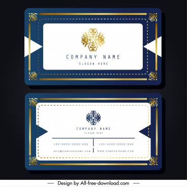 name card template elegant blue white symmetric border