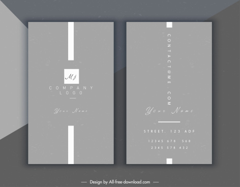 name card template elegant grey plain design
