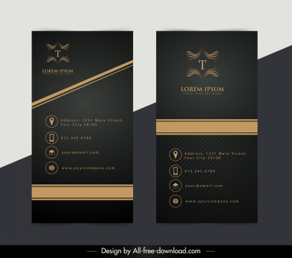 name card template elegant luxury flat black decor