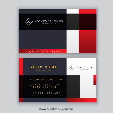 name card template elegant modern flat design