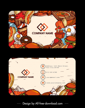 name card template fast food theme colorful retro