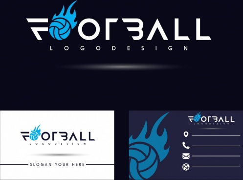 name card template football logotype decor