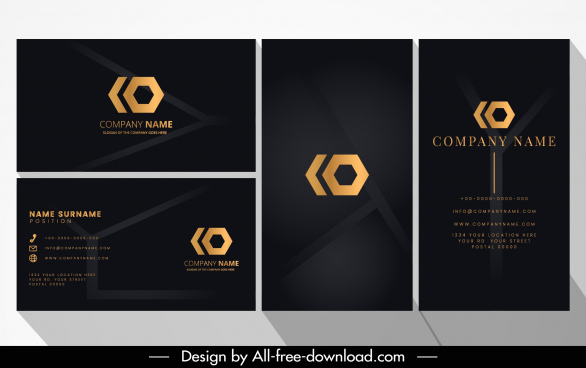 name card template luxury elegant black blurred decor