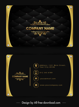 name card template luxury golden black gems decor