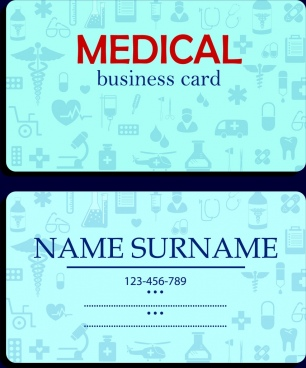 name card template medical icons decor blue vignette