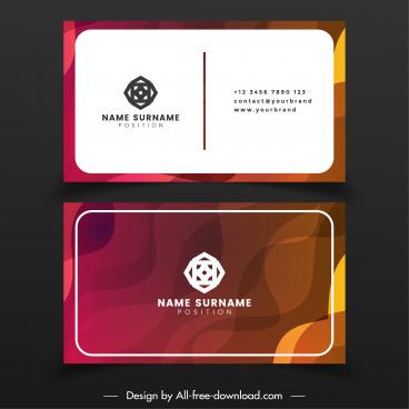 name card template modern design blurred curved decor