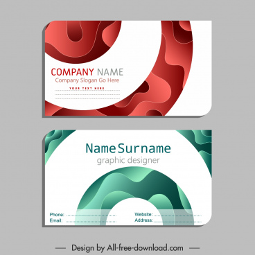 name card template modern flat deformed curves decor