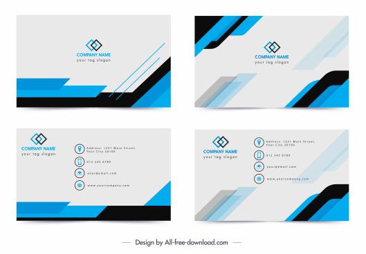 name card template modern simple blue white decor