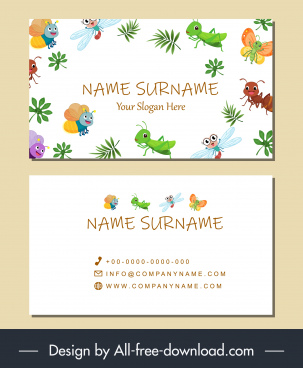 name card template nature species decor cute characters