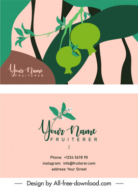 name card template pomegranate fruit sketch flat retro