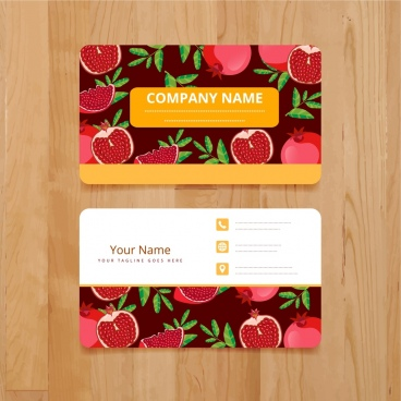 name card template pomegranate icons decoration repeating design