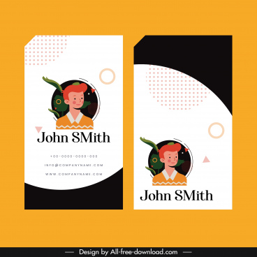name card template portrait decor vertical design