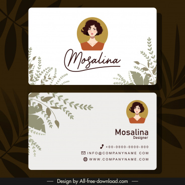 name card template portrait leaves decor classical design