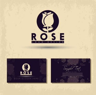 name card template rose icon logo design