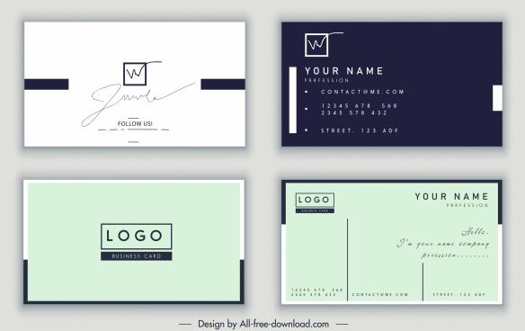 name card template signature decor dark bright design