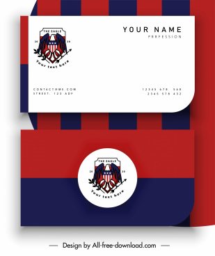 name card template striped flat design eagle logotype