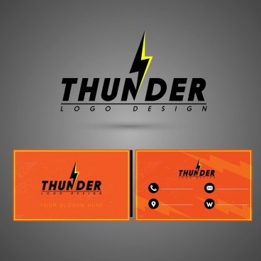 name card template thunder logo decor
