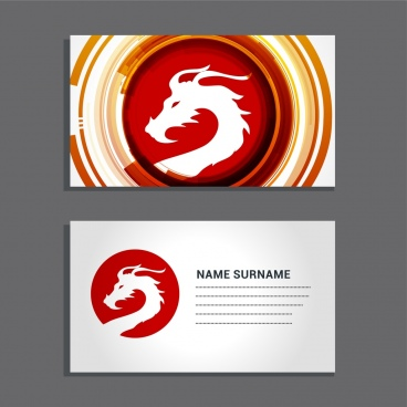 name card template white silhouette dragon icon decoration