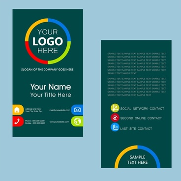 name card template with dark color vertical design