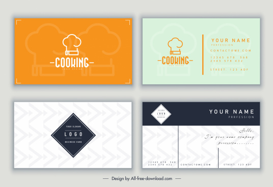 name card templates elegant flat decor