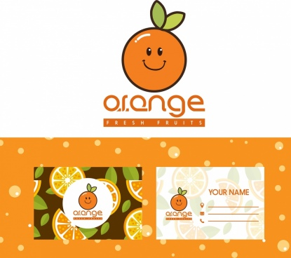 name card templates stylized orange logo decor