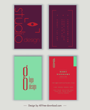 name card templates vertical modern flat plain decor