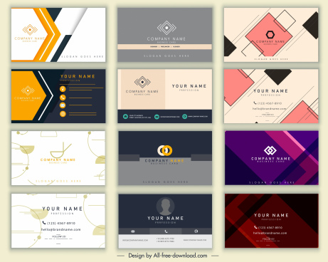 name cards templates colored modern elegant decor