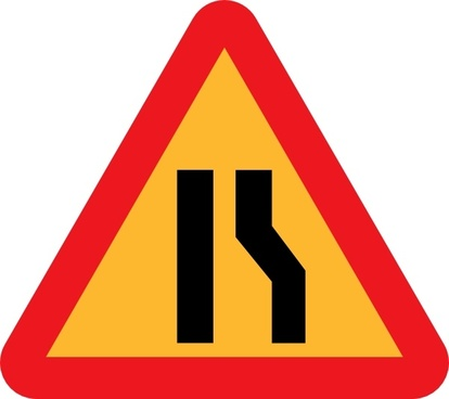 Narrowing Lanes Road Sign clip art