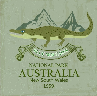 national park advertisement crocodile icon colored retro design