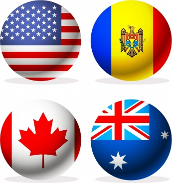 nations flags icons modern colorful circle isolation