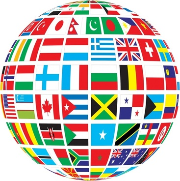 nations flags vector illustration with abstract globe