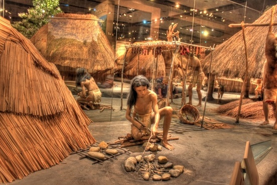 native american making fire at cahokia mounds illinois