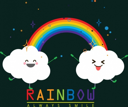 natural background cute stylized cloud colorful rainbow icons