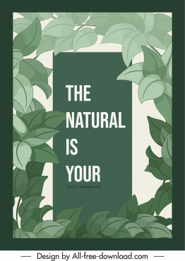 natural background template elegant classical green leaves decor