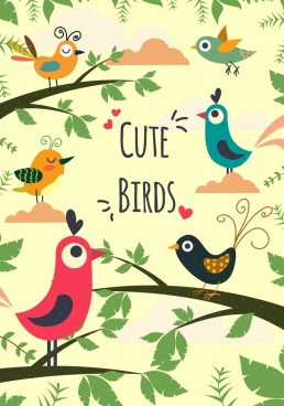 natural birds background colored cartoon decor