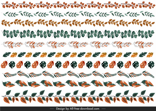 natural border elements templates colorful leaves shapes