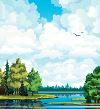 natural cartoon landscapes background vector