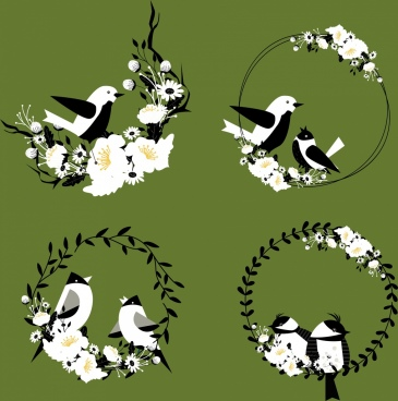 natural decorative design elements bird flowers wreath icons