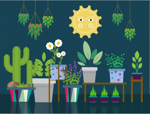 natural decorative plants icons flat colored design