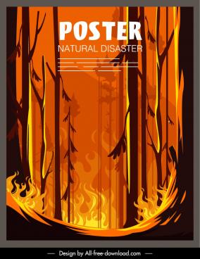 natural disaster poster forest flaming sketch