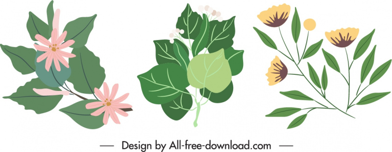 natural elements icons classical floral leaves sketch