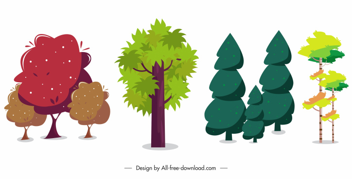 natural elements icons trees sketch colored classic design