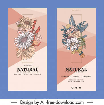 natural floral flyers templates elegant retro decor